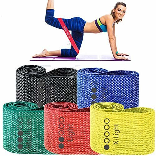 WODSKAI Resistance Exercise Fabric Bands, Non-Slip Booty Workout Bands for Legs & Butt and Glutes, 5...